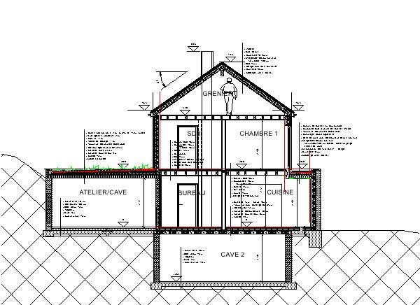 Maison bioclimatique sur terrain en pente architecture - Plan en coupe terrain et construction ...